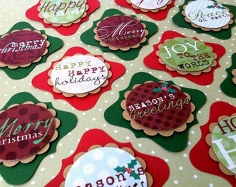 Christmas Tags Set of 12. Season's Greetings