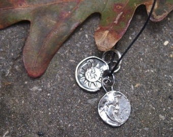 The Sun and the Moon - Fine Silver on leather - Made to Order