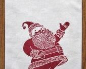 SUPER SALE block print santa towel hand printed