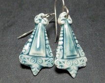 Porcelain Earrings In Peacock Blue With Sterling Silver Earwires