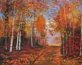 Fall Road- Abstract, Huge Contemporary Acrylic on a Extra Large Canvas Commissioned Painting FREE SHIPPING by Patty Baker