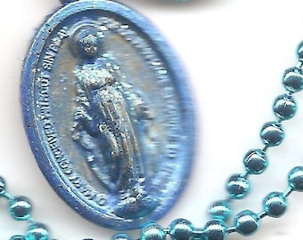 Miracles and Motorcycles,  Sparkly  Miraculous Medal  Patron Saint Medal on Antique Colored Ball Chain.