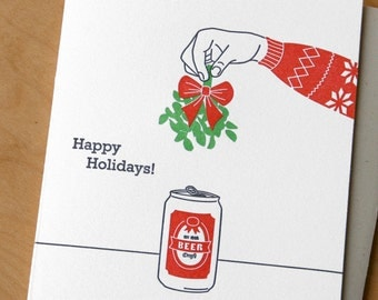 Mistletoe and Beer - Holiday Letterpress Card