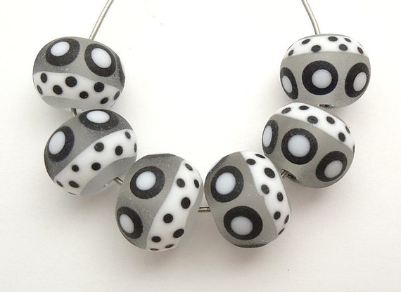 Frosted Black & White Artisan Handmade Lampwork Glass Beads SRA