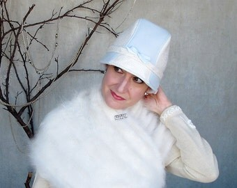 Winter fashion cloche hat womens millinery hat lady fedora hat brimmed cap winter white sparkle ice blue wool something blue : Game Changer