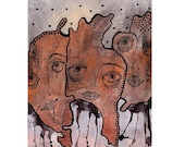 Quirky Original Art Painting Weird Abstract Brown Face Eyes Portrait Contemporary Artwork