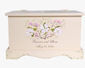 Wedding keepsake chest personalized card box - Dogwood wedding gift hand painted card box
