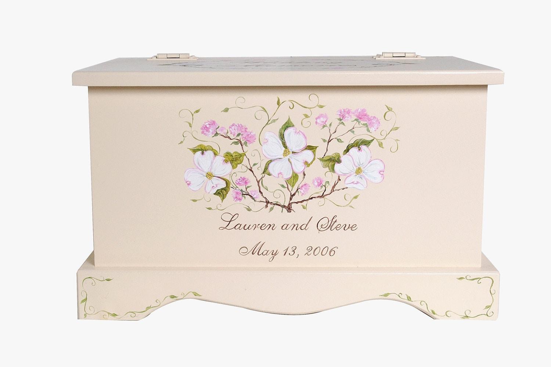Keepsake Wedding Gifts: Wedding Keepsake Chest Personalized Card Box Dogwood Wedding