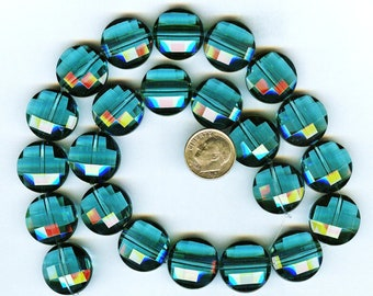 Stunning Teal Blue Multi Faceted Acrylic Round Coin Beads 20mm 6 pcs