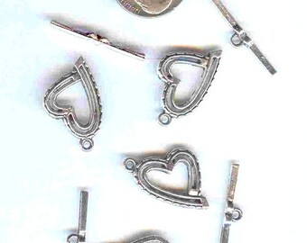 4 Tibetan Silver Fancy Heart Toggle Clasps