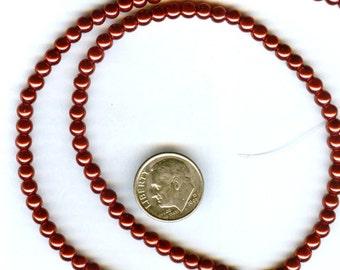 4mm Elegant Christmas Red Glass Pearls 50 pcs