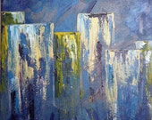 Original Acrylic Painting on Canvas - Behind City Walls Abstract Cityscape