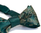 Circuit Board Bow Tie. Men's bow tie. Geek chic bowtie. Freestyle & adjustable. Antique brass print. Choose emerald necktie or more colors.