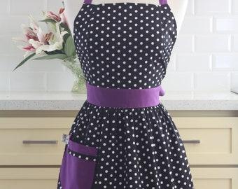 Apron Retro Polka Dot Black and White with Purple CHLOE