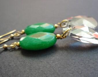 QUEEN OF GREEN mixed jade gemstone and swarovski crystal earrings.  Funky stone jewelry.  Long green gemstone drop earrings. Sterling silver
