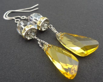 SUNSHINE GIRL yellow and grey swarovski crystal bridal drop earrings.  Vintage style.  Wedding jewelry.  Wedding drop earrings.  Chain.