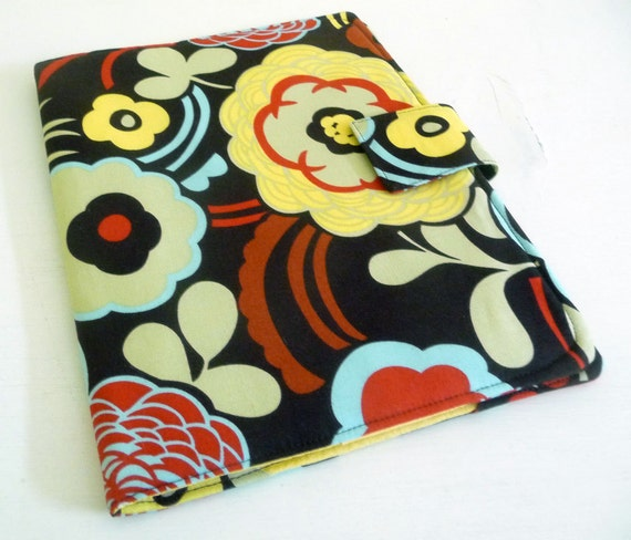iPad 2, iPad 3 Cover Case - Large Mod Floral, brown, yellow, red