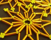 THREE Christmas ornaments or decorations made of Czech glass beads in orange and yellow