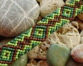 Male or unisex friendship bracelet in greens and brown, man, men's