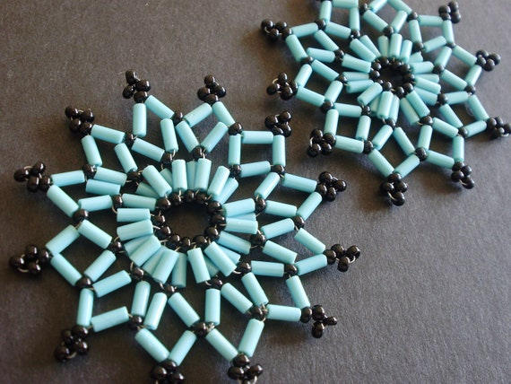 TWO blue and black beaded Christmas star decorations or ornaments made of Czech glass beads
