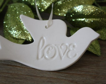 Handmade Christmas Ornament Ceramic Love Dove Christmas Ornament White Ornament  Gift Boxed Christmas Gift