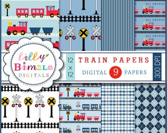 50% off Train Collection Digital scrapbook papers blue and red trains, boys birthday paper INSTANT DOWNLOAD