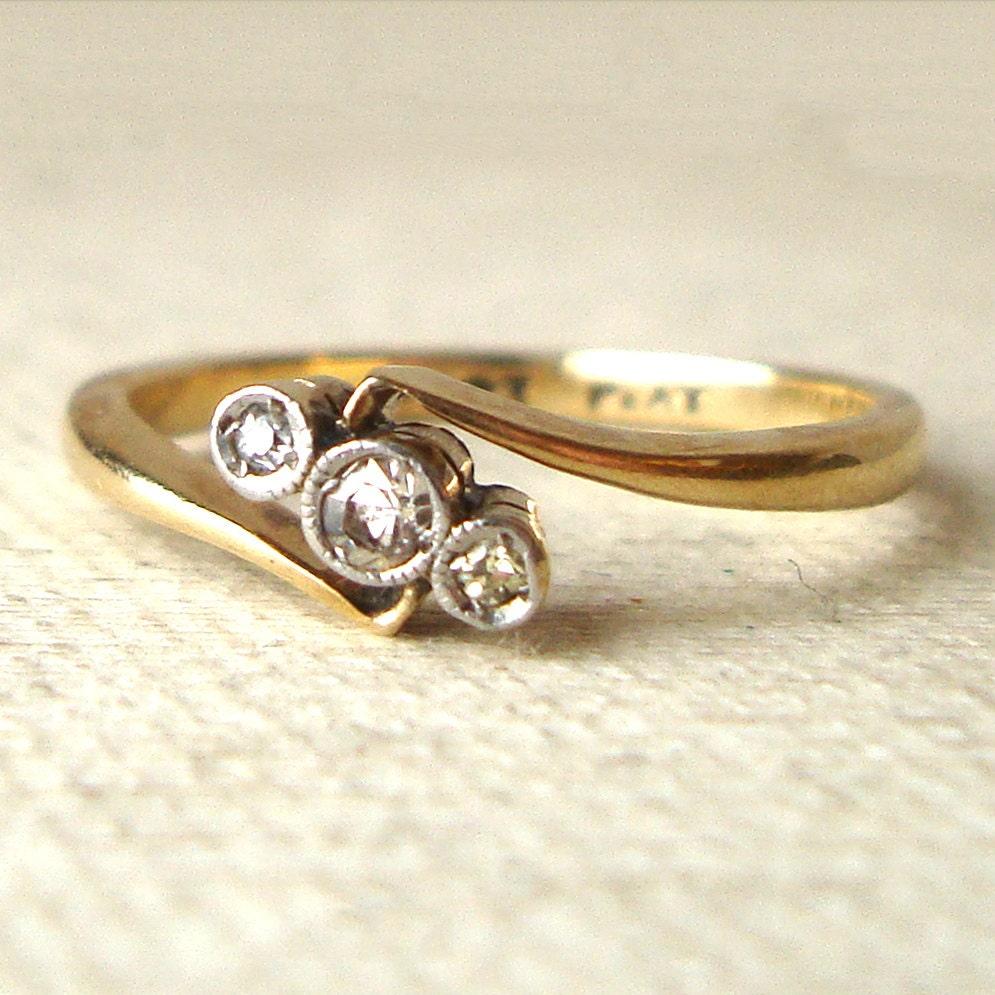 Art deco diamond geometric trilogy ring antique engagement for Geometric wedding ring
