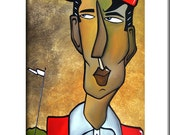 Be The Ball - Original Abstract painting Modern pop Art print Contemporary colorful portrait face golf decor by Fidostudio