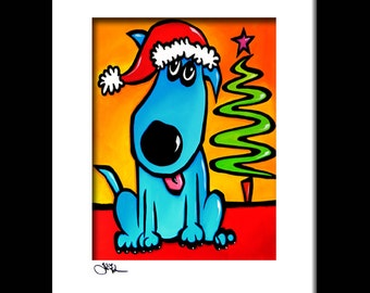 Abstract painting dog holiday pop Art print blue christmas colorful decor by Fidostudio