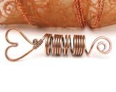 Copper Heart Hair Coil, Dreadlock Bead, Dreads, Braids, Rasta