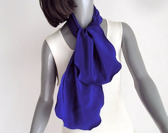 Ultramarine Silk Scarf  Deep Blue, Small Silk Neck Scarf, Blue Scarflette, Indigo Crepe Pure silk, Azul Anil Blue, Natural Silk, Artinsilk