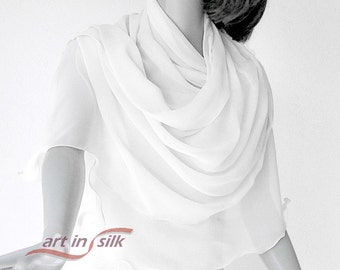"Square Chiffon Scarf Snow White, 40x40"" Sheer Coverup, Wedding Shawl Wrap, Natural White Evening Formal Silk Chiffon Scarf, Artinsilk"