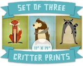 "Woodland Art Nursery Prints Kids- Woodland Critters Series Set of 3 Illustrations 11""x14"" Set of Prints for Kids Room- Baby Boy Room Ideas"