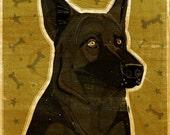 German Shepherd Print- Black German Shepherd Art- Dog Print- German Shepherd Gifts- Dog Gifts for Pet Lovers- Gifts for Dog Lovers