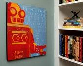 "Robot Art Box- Warmth of Your Metal Heart Sci Fi Art- Retro Robot Art Print Box- 16"" x 20"" Robot Wall Decor- Kid Art- For Kids Room Art"