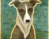 "Italian Greyhound Print (Blue or Gray)- Dog Art Print 8"" x 10""- Italian Greyhound Art- Whimsical Dog Art- Dog Print- Italian Greyhound Gifts"