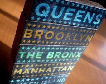 New York City Art- Holiday Gift- City Blocks- Five Boroughs Art Block Set- 5 Print Set- New York Gifts- New York Art- New York Print