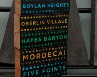 Travel Gift, Where We've Been, Raleigh Art, 5 Hoods on Wood Blocks, Raleigh NC Art Blocks, Raleigh Gifts, North Carolina Art