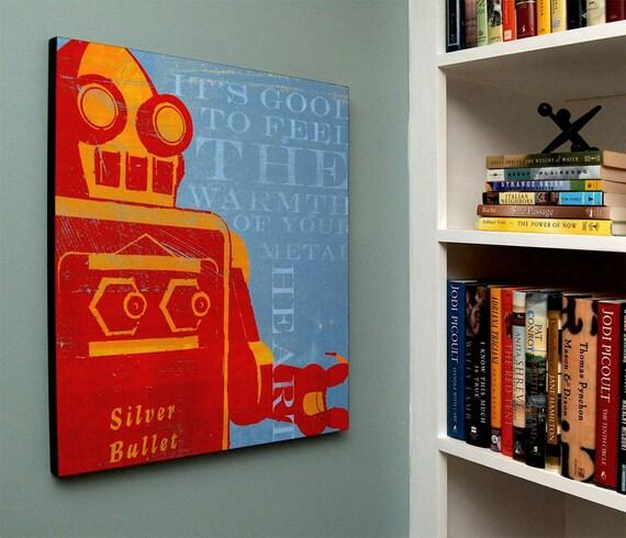 Boys room decor robot art box warmth of your metal heart sci for Robot room decor
