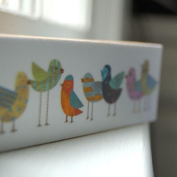 Cute Bird Artwork- Flock No. 1 Mini Whimsical Bird Art Print on Block- Kid Decor- Gifts for Him- Bird Gift for Mom- Gifts