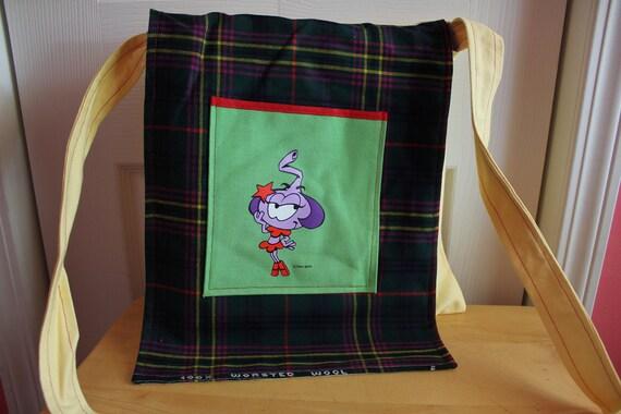 "Messenger Bag with Upcycled Snork Pocket, 13"" x 13"", long strap, shoulder bag, school bag, casual, retro, lightweight, handmade"