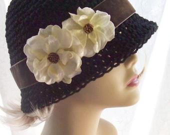 Black Cotton Cloche 20s Flapper Hat Ivory Velvet Roses Brown Band