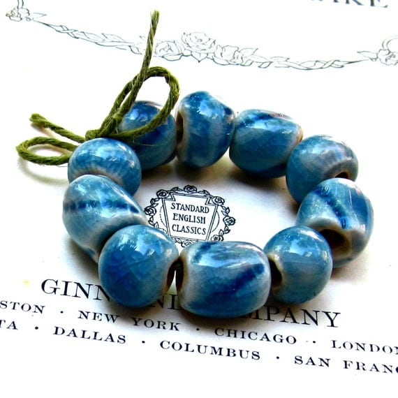 Ceramic Teal blue Beads Handmade