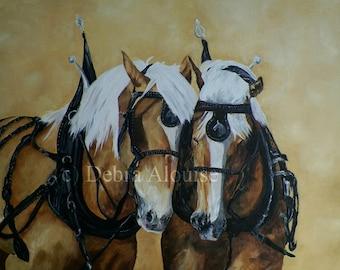 Belgian Horses Driving Team Horse Original Oil Painting Equine Landscape by California  Artist debra alouise