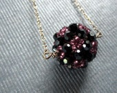 Charmed Necklace - Hematite Swarovski Crystals, Juicy Purple Seed Beads, Sterling Silver