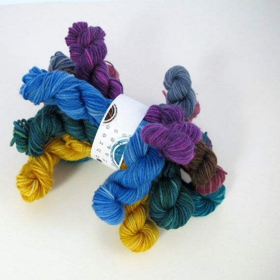 assorted 10-pack of hand dyed MCN sock yarn minis
