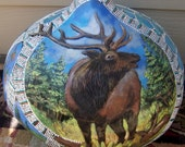large painted gourd with elk sculpture