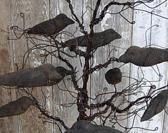 Primitive Crow Doll PATTERN-Crow Ornies, Bowl Fillers-SPPO A Gathering of Crows-Fall Halloween Decor