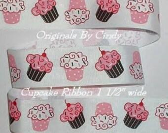 Cupcake Grosgrain Ribbon Cherry Cupcakes Pink Brown Red 5y 1 1/2 wide cbonefive