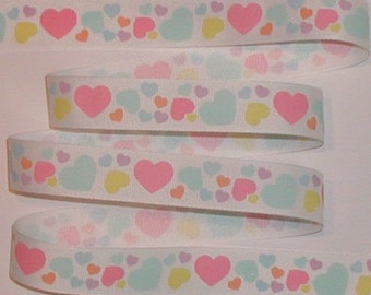Hearts Heart Ribbon Grosgrain Pink Green Blue Lavender Yellow 5 yards 7/8 wide cbseveneight